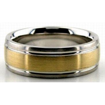 950 Platinum & 18K Gold 7mm Satin Finish Comfort Fit Wedding Band 204