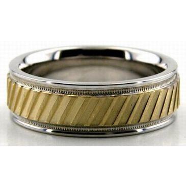 950 Platinum & 18K Gold 6.5mm Diamond Cut Slash Wedding Bands 205