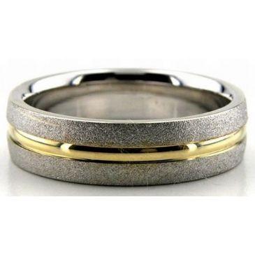 950 Platinum & 18K Gold 6mm Stone & Shiny Channel Wedding Bands 206