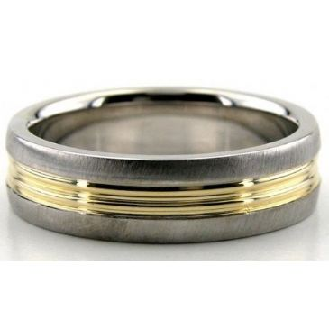 950 Platinum & 18K Gold 6mm Shiny Yellow Groove Wedding Rings 208