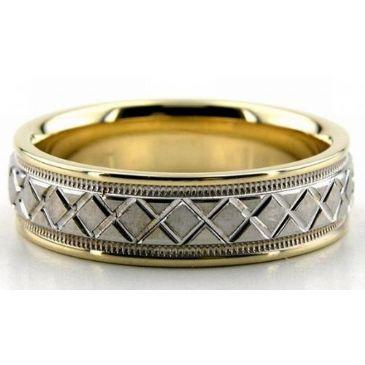 950 Platinum & 18k Gold X Style 6mm Wedding Bands Comfort Fit 209
