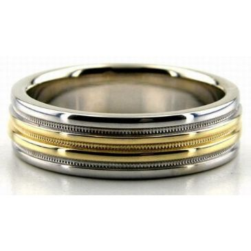 950 Platinum & 18K Gold Four Channels Two Tone 6mm Wedding Bands 212