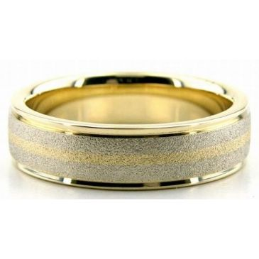 950 Platinum & 18K Gold 6mm Stone Gradient Wedding Bands Bands 213
