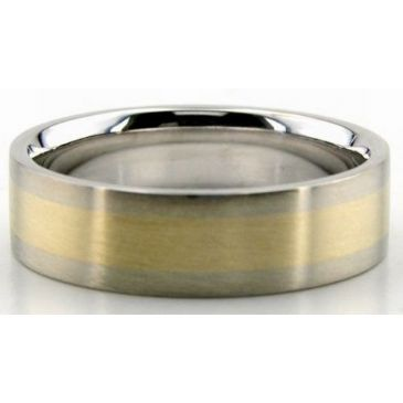 950 Platinum & 18K Gold Gradient 6mm Wedding Rings Comfort Fit 218