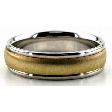 950 Platinum & 18K Gold Traditional Satin 6mm Wedding Bands 220