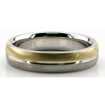 950 Platinum & 18K Gold Two Tone 5mm Wedding Bands Comfort Fit 221