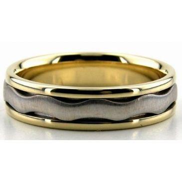 950 Platinum & 18K Gold 6mm Wave Wedding Bands Comfort Fit 222