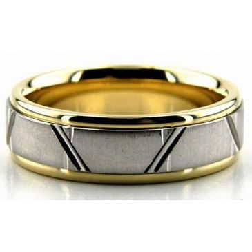 950 Platinum & 18K Gold 6.5mm Trapezoid Diamond Cut Wedding Bands 224