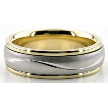 950 Platinum & 18K Gold 6mm Diamond Cut Wave Wedding Rings 225