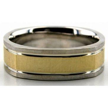 950 Platinum & 18K Gold 6.5mm Square Shape Satin Wedding Bands 227