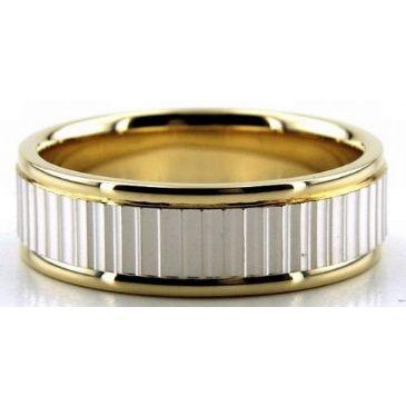 950 Platinum & 18K Gold 7mm Diamond Cut Facets Wedding Bands 230