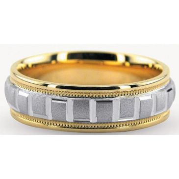950 Platinum & 18K Gold 6mm Geometric Diamond Cut Wedding Bands 234