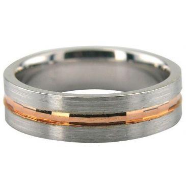 950 Platinum & 18K Gold 6mm Rose Gold Center Facets Wedding Ring 236