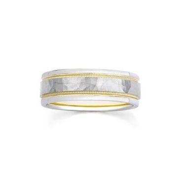950 Platinum & 18k Gold Hammered Milgrain 6.5mm Wedding Bands 238