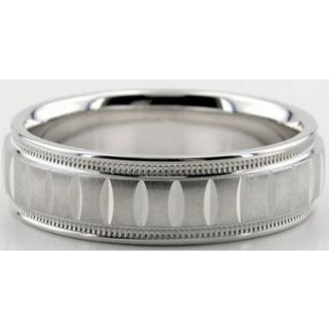Platinum 950 6.5mm Diamond Cut Wedding Band 607