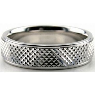 Platinum 950 6mm Diamond Cut Wedding Band 681