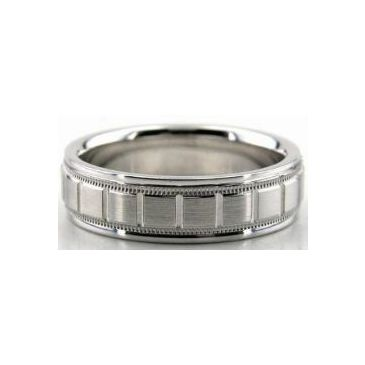 Platinum 950 6.5mm Diamond Cut Wedding Band 608