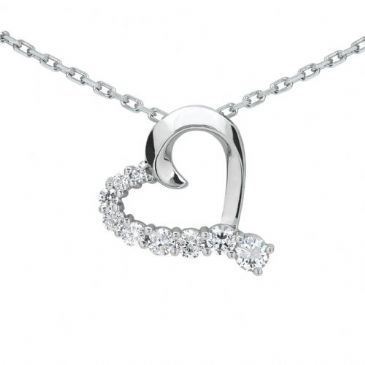Platinum 950 Diamond Heart Shaped Pendant 9 Stone 0.75 ctw. HPD375PLT