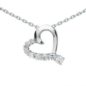 Platinum 950 Diamond Heart Shaped Pendant 9 Stone 0.75 ctw. HPD375PLT