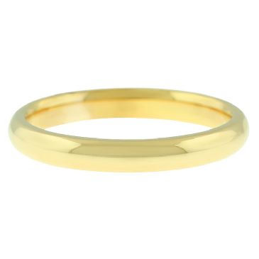 18k Yellow Gold 3mm Comfort Fit Dome Wedding Band Heavy Weight