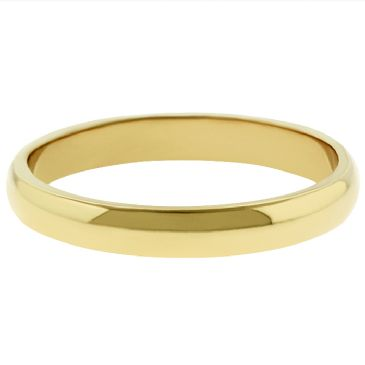 18k Yellow Gold 3mm Dome Wedding Band Medium Weight