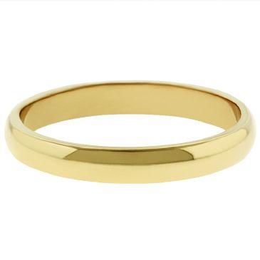 18k Yellow Gold 3mm Dome Wedding Band Medium Weight