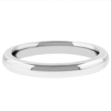 18k White Gold 3mm Comfort Fit Dome Wedding Band Super Heavy Weight