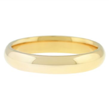 18k Yellow Gold 4mm Comfort Fit Dome Wedding Band Heavy Weight