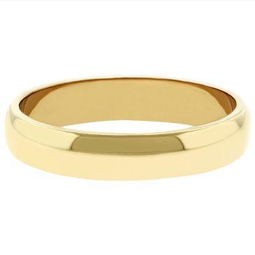 14k Yellow Gold 4mm Dome Wedding Band Medium Weight