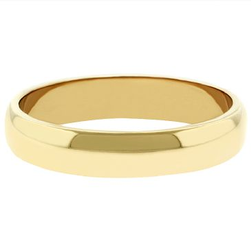 18k Yellow Gold 4mm Dome Wedding Band Medium Weight