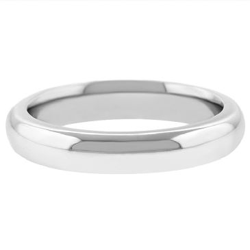14k White Gold 4mm Comfort Fit Dome Wedding Band Super Heavy Weight