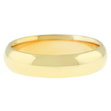 18k Yellow Gold 5mm Dome Wedding Band Heavy Weight