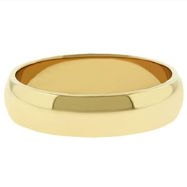 14k Yellow Gold 5mm Dome Wedding Band Medium Weight