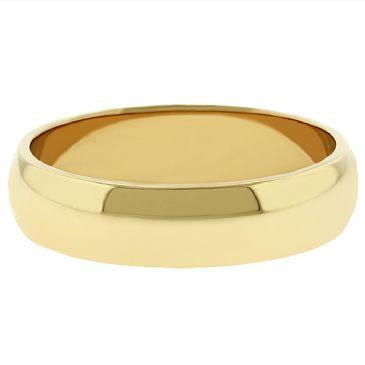 18k Yellow Gold 5mm Dome Wedding Band Medium Weight