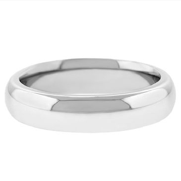 14k White Gold 5mm Comfort Fit Dome Wedding Band Super Heavy Weight