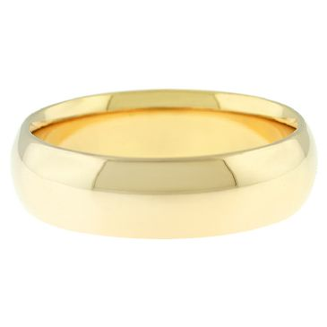 14k Yellow Gold 6mm Comfort Fit Dome Wedding Band Heavy Weight