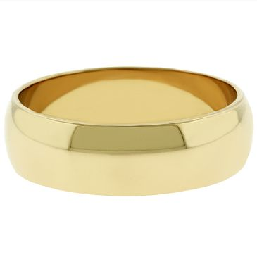 14k Yellow Gold 6mm Dome Wedding Band Medium Weight