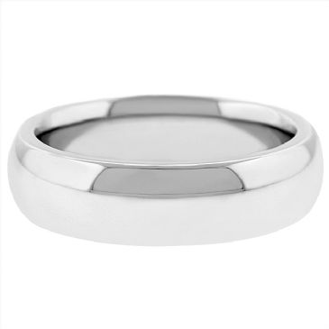 14k White Gold 6mm Comfort Fit Dome Wedding Band Super Heavy Weight