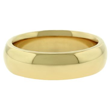 18k Yellow Gold 6mm Comfort Fit Dome Wedding Band Super Heavy Weight