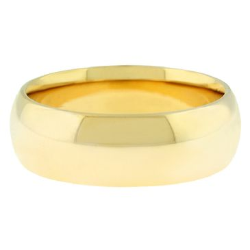 18k Yellow Gold 7mm Comfort Fit Dome Wedding Band Heavy Weight
