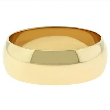 18k Yellow Gold 7mm Dome Wedding Band Medium Weight