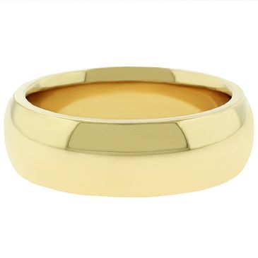 14k Yellow Gold 7mm  Comfort Fit Dome Wedding Band Super Heavy Weight
