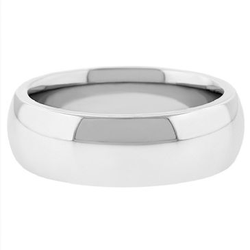 18k White Gold 7mm Comfort Fit Dome Wedding Band Super Heavy Weight