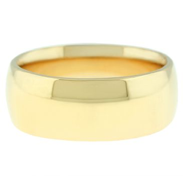 18k Yellow Gold 8mm Comfort Fit Dome Wedding Band Heavy Weight