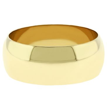14k Yellow Gold 8mm Dome Wedding Band Medium Weight
