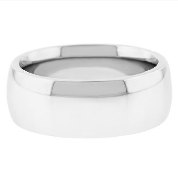 18k White Gold 8mm Comfort Fit Dome Wedding Band Super Heavy Weight