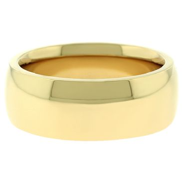 18k Yellow Gold 8mm Comfort Fit Dome Wedding Band Super Heavy Weight