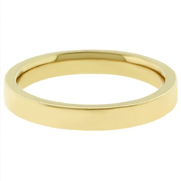 18k Yellow Gold 3mm Flat Wedding Band Heavy Weight