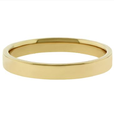 14k Yellow Gold 3mm Flat Wedding Band Medium Weight