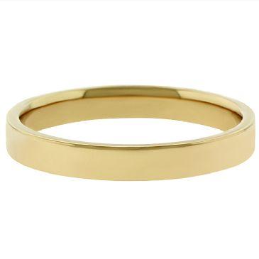 18k Yellow Gold 3mm Flat Wedding Band Medium Weight